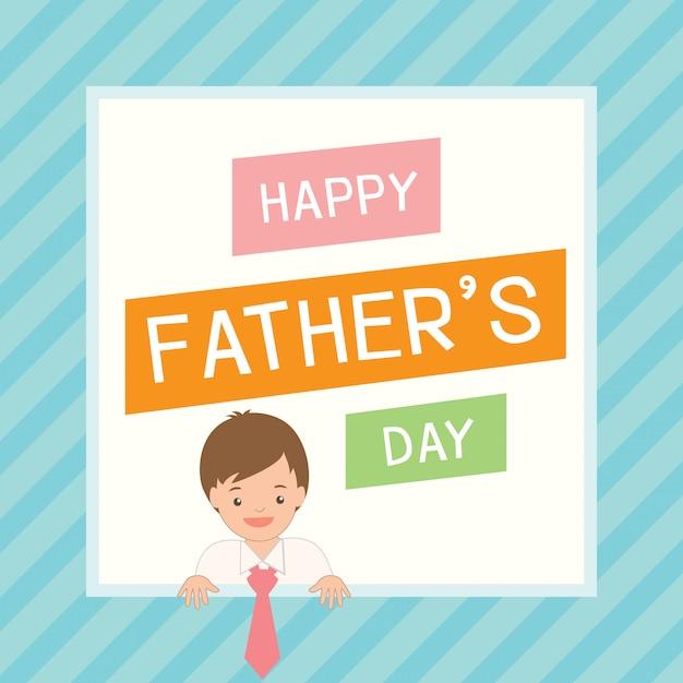 Lindo cartão de dia dos pais com menino vestir-se para seu pai Vetor Premium