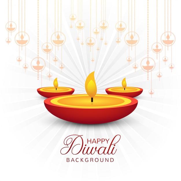 Lindo cartão de felicitações para o festival feliz diwali Vetor Premium