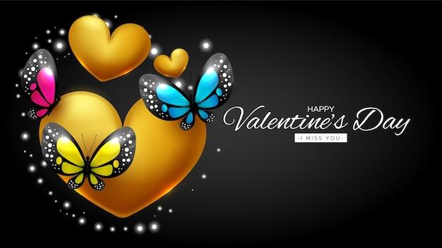 Lindo cartão de feliz dia dos namorados com corações e borboletas Vetor grátis