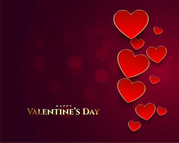 Lindo cartão de feliz dia dos namorados com fundo de coração Vetor grátis