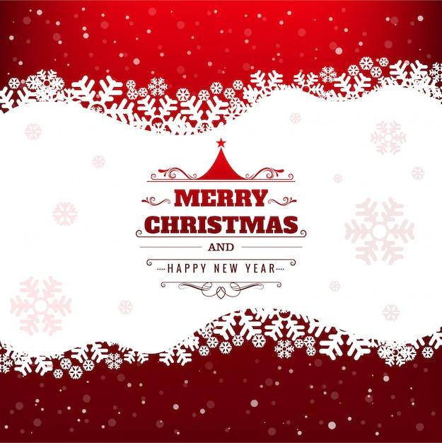 Lindo cartão de feliz natal com fundo de floco de neve Vetor grátis
