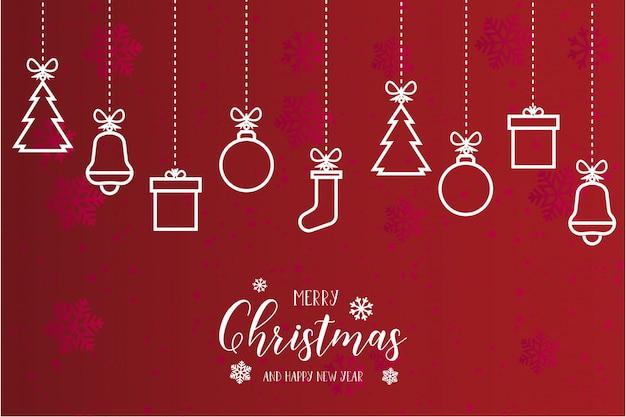 Lindo cartão de feliz natal moderno Vetor grátis