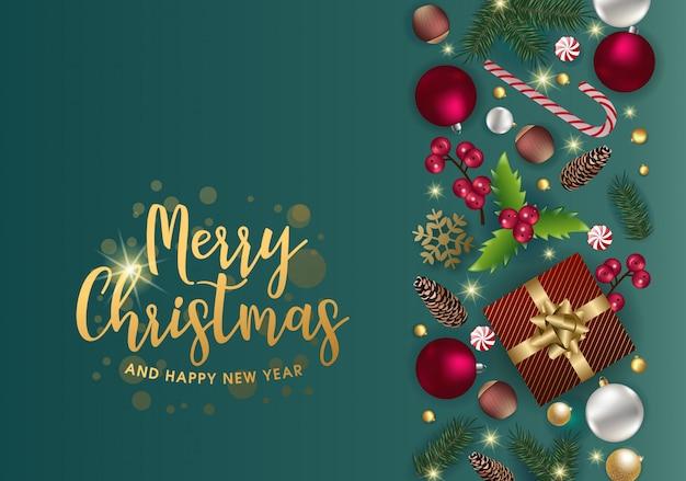 Lindo cartão de natal com belos elementos Vetor Premium
