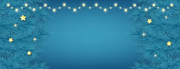 Lindo cartão de natal em fundo azul. elemento de decoração do feriado com guirlandas de luzes e ramos de abeto. feliz ano novo fundo. Vetor Premium
