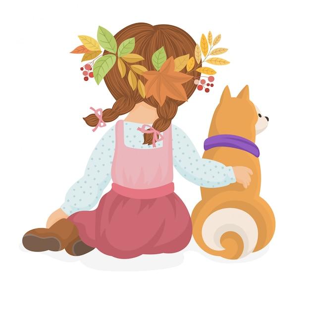 Lindo cartão de outono com uma menina e um cachorro Vetor Premium