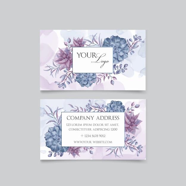 Lindo cartão de visita floral Vetor Premium