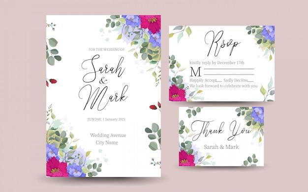 Lindo cartão decorativo ou convite com design floral Vetor Premium