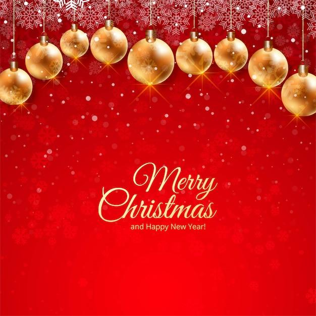 Lindo cartão festival de natal com decoração de bolas realistas Vetor grátis