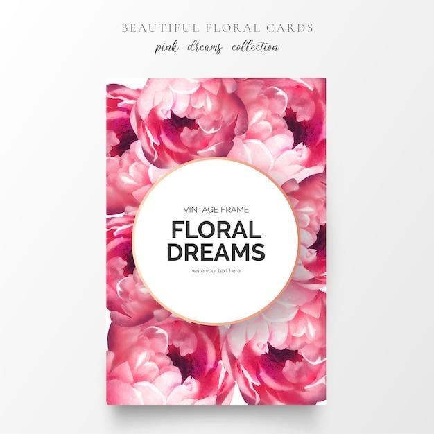 Lindo cartão floral com flores de peônia Vetor grátis