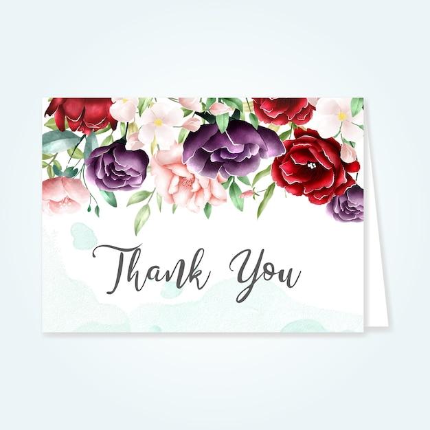Lindo cartão floral com mensagem de agradecimento Vetor Premium
