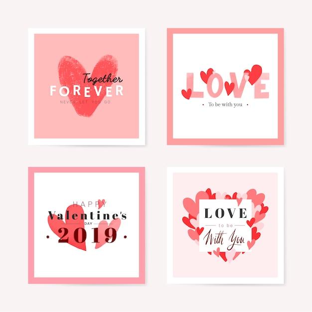 Lindo cartão romântico Vetor grátis