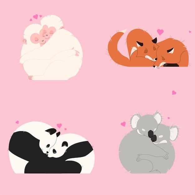 Lindo casal de animais dos namorados Vetor grátis