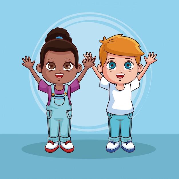 Lindo Casal De Desenhos De Criancas Sobre Fundo Colorido Vetor