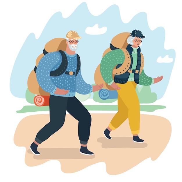 Lindo casal de idosos rindo e conversando, caminhando, vestindo roupas e equipamentos de escalada Vetor Premium