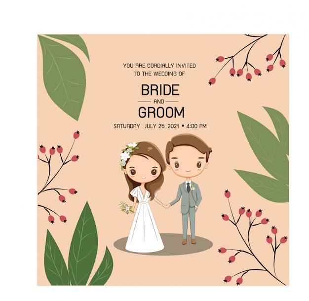 Lindo casal de noivos para cartão de convites de casamento Vetor Premium