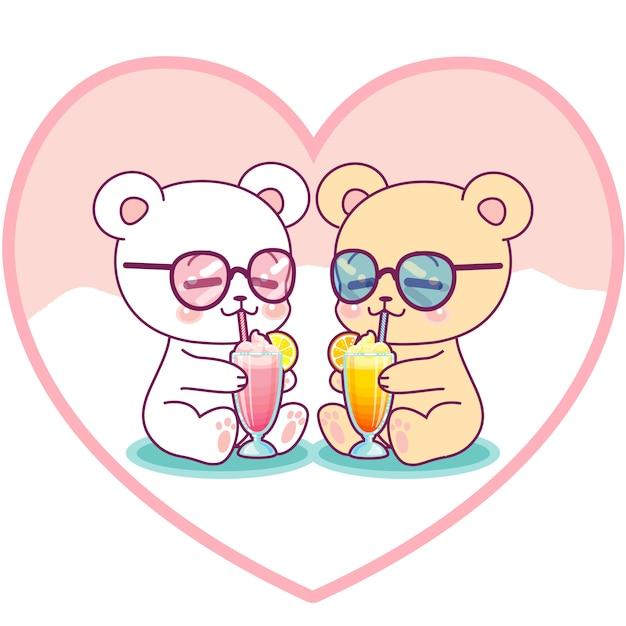 Lindo casal de ursos bebendo milkshakes Vetor Premium