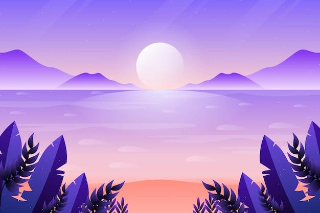 Lindo céu pôr do sol e fundo do mar Vetor Premium