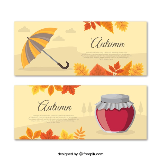 Lindo conjunto de banners de outono mão desenhada Vetor grátis