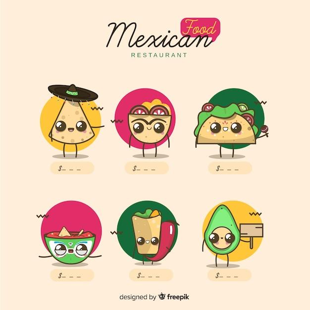 Lindo conjunto de comida mexicana Vetor grátis