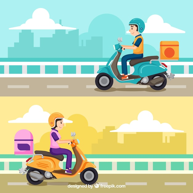 Lindo conjunto de conceito de entrega de scooter Vetor grátis
