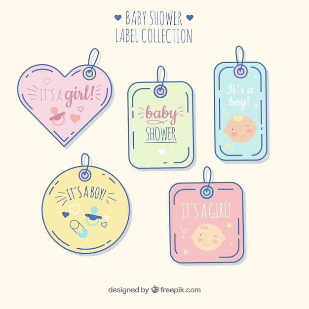 Lindo conjunto de emblemas de bebê mão desenhada Vetor grátis