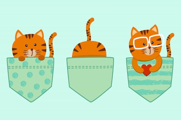 Lindo conjunto de gatinho gato de desenho animado no bolso da camisa t decorado com coração Vetor Premium