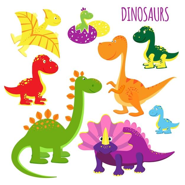 Lindo conjunto de ícones vetoriais de dinossauros bebês de desenhos animados vívidos e coloridos para crianças, mostrando uma variedade de espécies de clipart em branco Vetor grátis