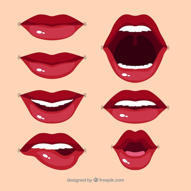 Lindo conjunto de lábios Vetor Premium