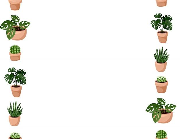 Lindo conjunto de plantas suculentas em vaso hygge padrão sem emenda. carta formato lagom estilo escandinavo decoração Vetor Premium