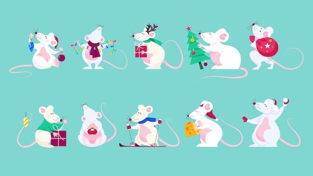 Lindo conjunto de rato de natal. personagem animal segurando coisas festivas. 2020 ano do rato. ilustração em grande estilo Vetor Premium
