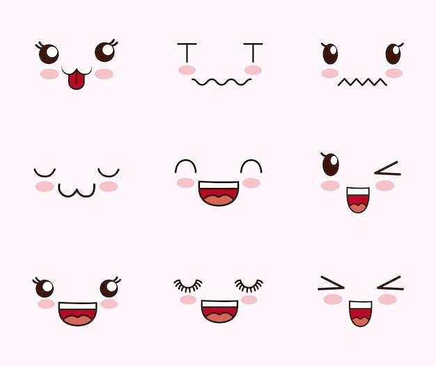 Lindo conjunto de rostos kawaii Vetor grátis
