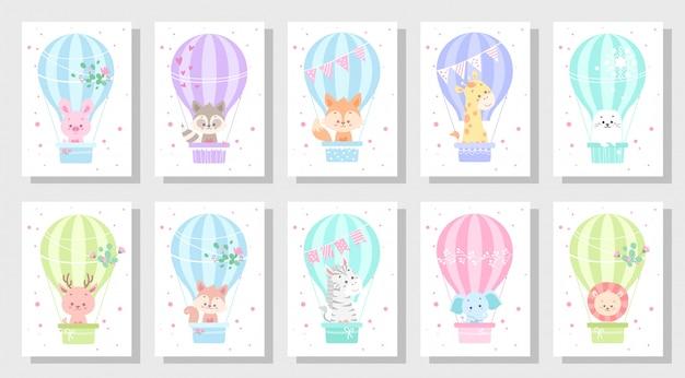 Lindo conjunto de vetores de cartão de saudação de crianças Vetor Premium
