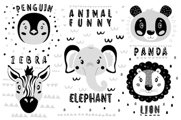 Lindo conjunto leão, panda, elefante, zebra, cara de pinguim. Vetor Premium
