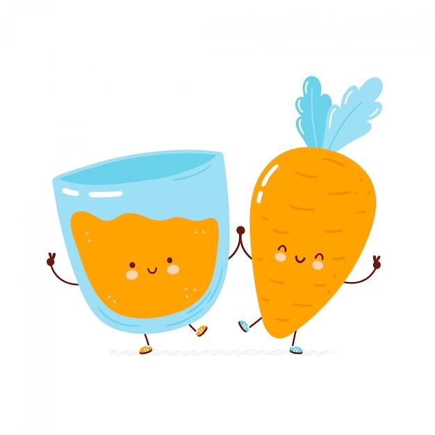 Lindo copo de cenoura e suco feliz. personagem de desenho animado desenhado à mão estilo ilustração Vetor Premium