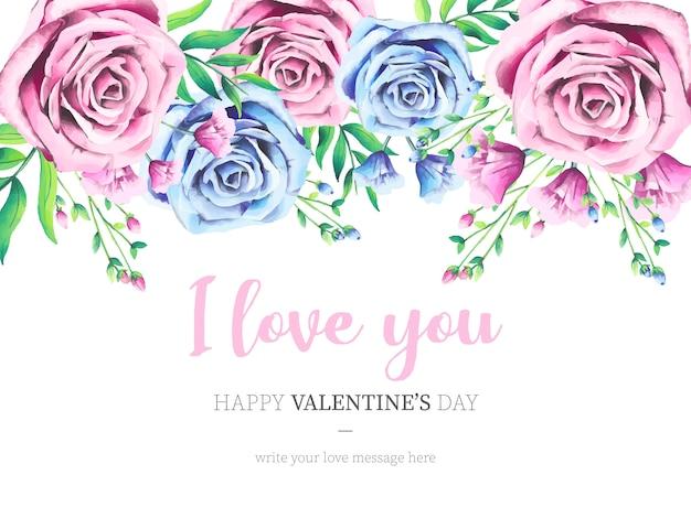 Lindo dia dos namorados fundo com aquarela rosas Vetor grátis