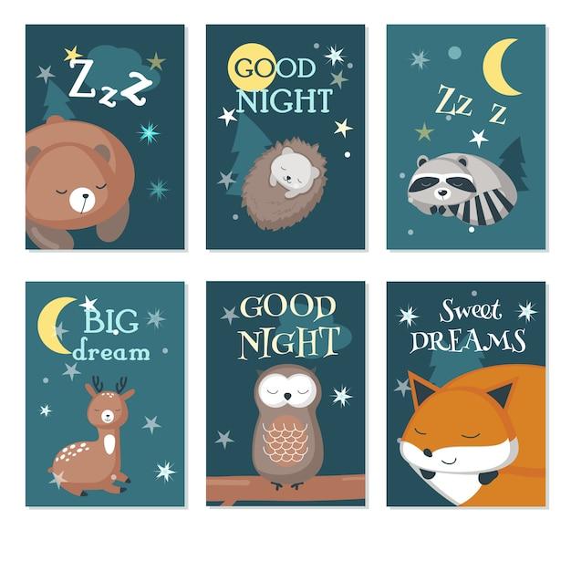 Lindo dormindo animais silvestres vector conjunto de cartão Vetor Premium