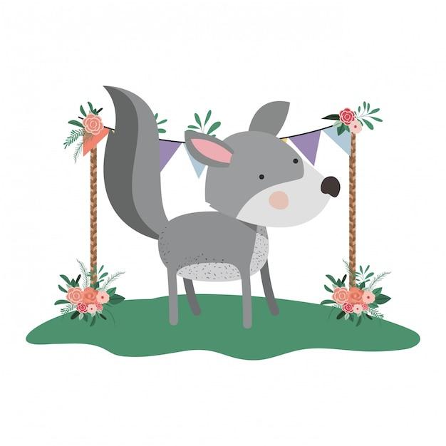 Lindo e adorável cachorro com moldura floral Vetor Premium
