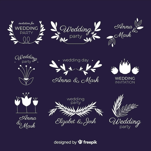 Lindo e elegante logotipo ou logotipo definido para casamento ou florista Vetor grátis