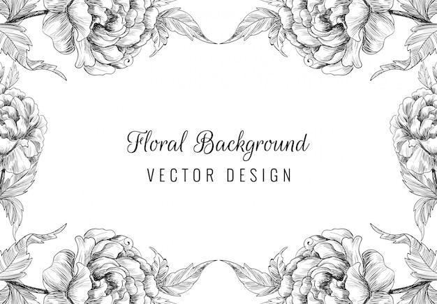 Lindo enfeite de casamento desenhado à mão com fundo floral Vetor grátis
