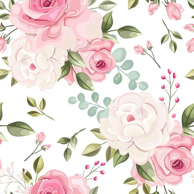 Lindo floral e deixa o padrão sem emenda Vetor Premium