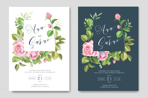 Lindo floral e folhas frame e modelo de plano de fundo do casamento Vetor Premium