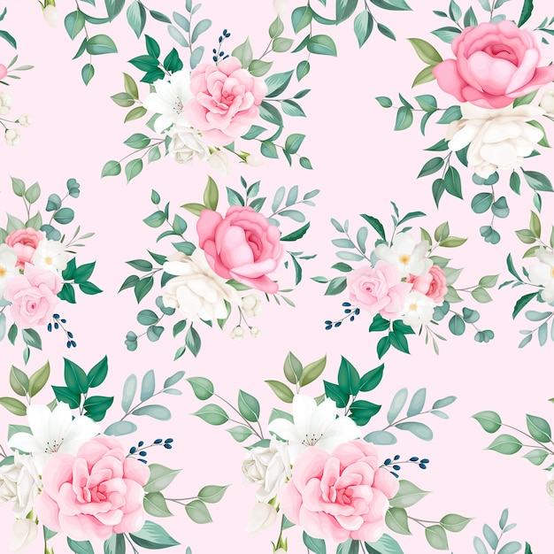 Lindo floral e folhas padrão sem emenda Vetor grátis