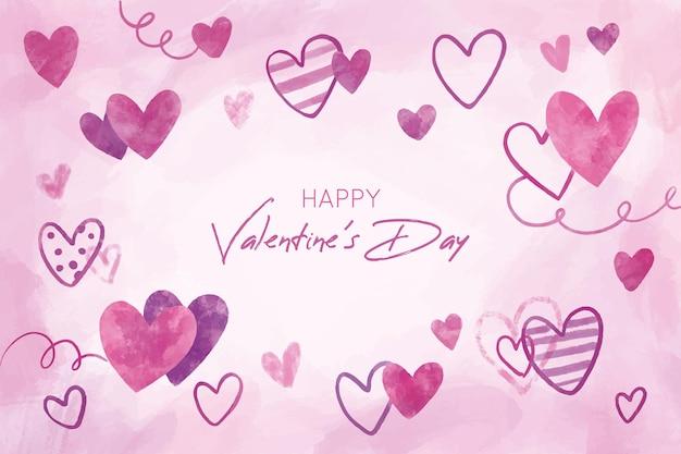 Lindo fundo de dia dos namorados com corações desenhados à mão Vetor grátis