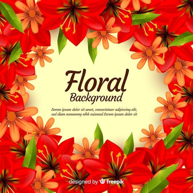 Lindo fundo floral com design realista Vetor grátis