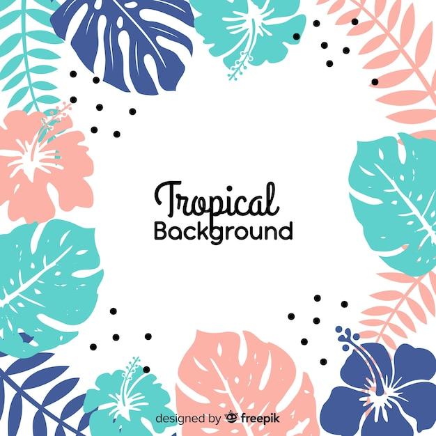 Lindo fundo tropical com design plano Vetor grátis