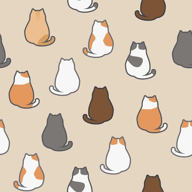 Lindo gato engraçado adorável sentado animais de volta dos desenhos ...
