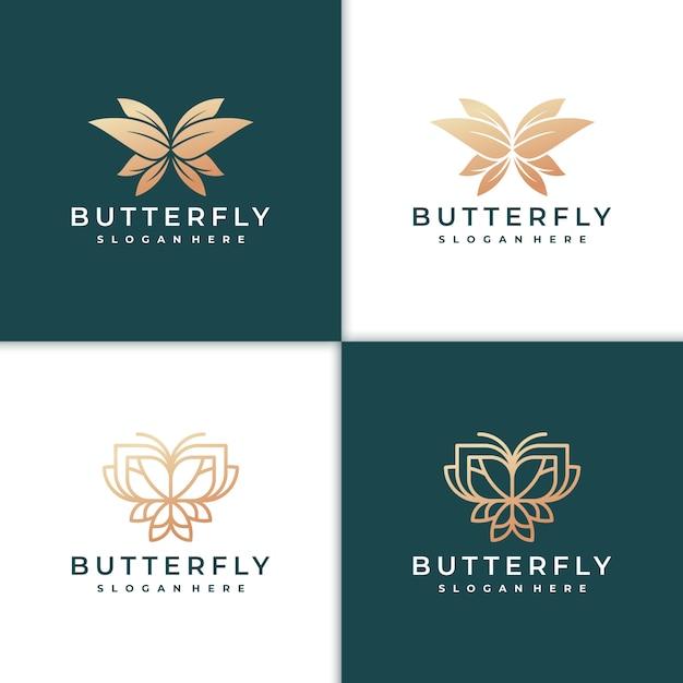 Lindo logotipo de borboleta Vetor Premium