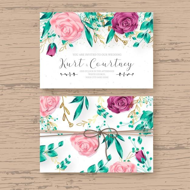 Lindo modelo de cartão de casamento com moldura floral realista Vetor grátis