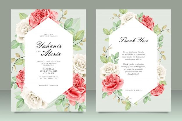 Lindo modelo de cartão de casamento em aquarela Vetor Premium