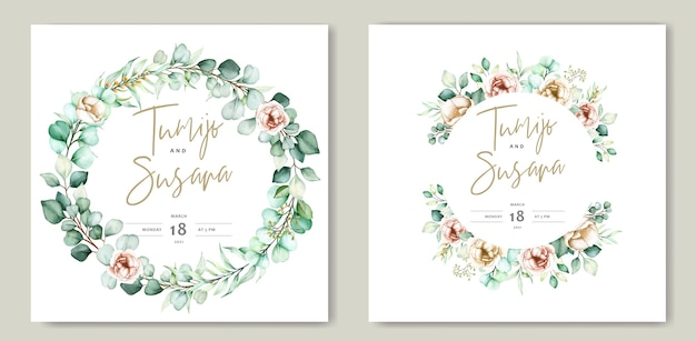 Lindo modelo de cartão de casamento floral em aquarela Vetor grátis